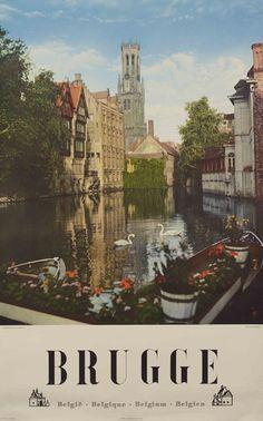 Vintage Travel Poster / Brugge, Belgium