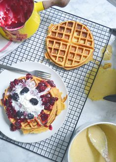 Cornbread Waffles :: These waffles are a great alternative to the traditional version. Using coconut oil, Greek yogurt, honey, and cornmeal adds health benefits and heartiness.