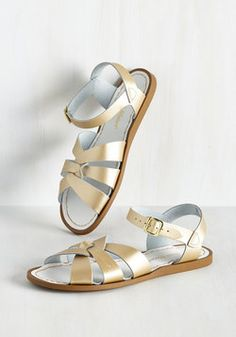 Salt Water Sandal in Gold. A sunny reception from your friends is a shore thing when you come dancing across the dunes in these stunning shoes by Salt Water Sandals! #gold #modcloth