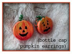 How to make recycled plastic bottle cap pumpkin earrings · Recycled Crafts | CraftGossip.com