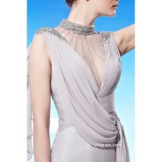 evening dresses for women | ... Style Silver or Grey Modest Sheer Evening Gowns for Tall Women sch902