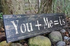 YOU + ME = US, WOODEN DISTRESSED SIGN PLAQUE, WEDDING GIFT, SHABBY CHIC  Available from http://stores.ebay.co.uk/Dolly-Daydream-Boutique https://www.facebook.com/maisonroyale.co.uk