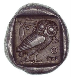 "Ancient Greek coin. ""Athenian Owl"" with AOE. Denomination likely Tetradrachm, Circa 500 to 100 BC."