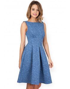 Closet Blue Denim Textured Skater Dress