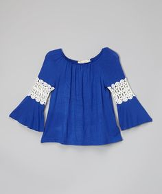 Look at this Blue & White Lace Peasant Tunic - Infant, Toddler & Girls on #zulily today!