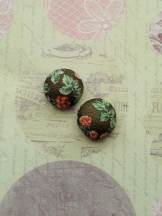 Vintage Style Flower Earrings,Chocolate Fabric Studs,Costume Jewelry,Summer Accessories,Vintage Rose Studs,Shabby Chic,Romantic Earrings by RosieMays on Etsy