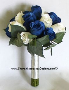 Real Touch wedding flower Bride wedding bouquet with blue and white roses.