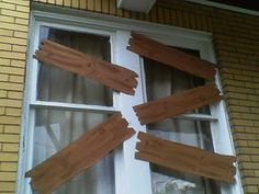 faux wooden planks to board up your spooky house windows for Halloween!