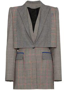 Shop Alexander McQueen Prince of Wales checked wool blazer Tailored Jacket, Padded Jacket, Alexander Mcqueen, Estilo Preppy, Mode Costume, Cropped Blazer, Gray Jacket, Colored Blazer, Clothes