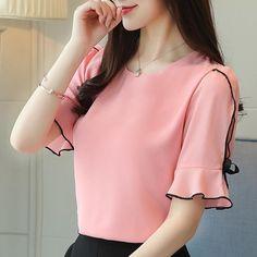 08b363cb240cf3 summer women blouse shirt fashion 2018 bow short sleeve chiffon women's  clothing sweet o-neck red feminine tops blusas D621 30
