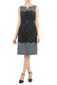 eShakti Womens Split neck lace overlay chambray dress $89.95 AT vintagedancer.com