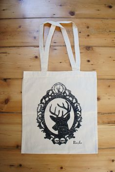 Stag in the Woodland Screen Printed Cotton by Paisley fox £10.00