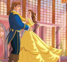 Belle and Prince Adam having a romantic dance in the ballroom Disney Marvel, Disney Pixar, Fera Disney, Arte Disney, Disney Animation, Disney Cartoons, Disney Art, Disney Couples, Disney Girls