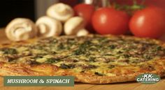 A perfect vegetarian option, our mushroom and spinach pizza is lower in calories yet so tasty Pizza Vans, Spinach Pizza, Thin Crust Pizza, Vegetarian Options, Healthy Tips, Quiche, Catering, Buffet, Stuffed Mushrooms