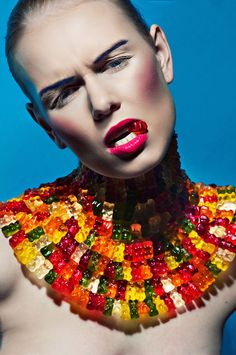 Haribo Beauty by Simona Smrckova / Beauty Photography, Fashion Photography, Candy Photography, Creative Photography, Portrait Photography, Candy Costumes, Halloween Costumes, Candy Makeup, Candy Art