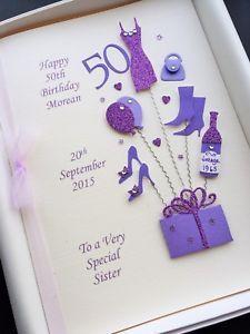 handmade birthday cards for women 50th Birthday Cards For Women, Happy 50th Birthday, Personalised Gifts Handmade, Custom Boxes, Custom Design, Birthdays, Stationery, Crafts, Image