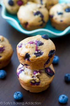 Skinny Banana Blueberry Muffins - only 131 calories each by sallysbakingaddiction.com
