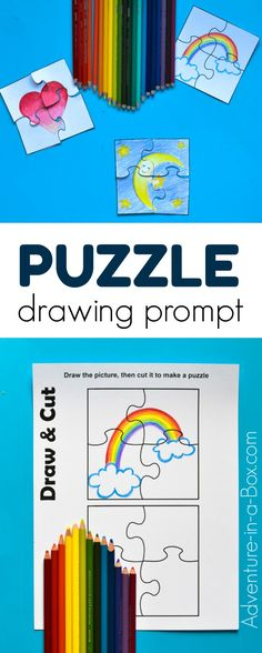 Draw, cut and create a puzzle of your own! With this free printable puzzle template, kids can make as many DIY puzzles as they want. puzzles for kids toddlers Easy Art For Kids, Creative Activities For Kids, Creative Kids, Diy Crafts For Kids, Free Printable Puzzles, Free Printables, Preschool Printables, Puzzle Club, Puzzle Drawing