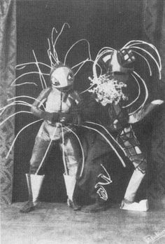 BAUHAUS Walter Holdt and Lavinia Schulz performing as Tobaggan and Springvieh,  Hamburg, ca. 1922. from Theatre  Dancing chapter of Empire of Ecstasy [