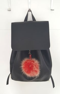 Light Red Fluffy real Fox Fur Pom Pom, very easy to attach onto purses, bags or… Pom Pom Purse, Fur Pom Pom, Pom Poms, Red Fur, Fur Bag, Red Purses, Red Bags, Winter Accessories, Leather Backpack