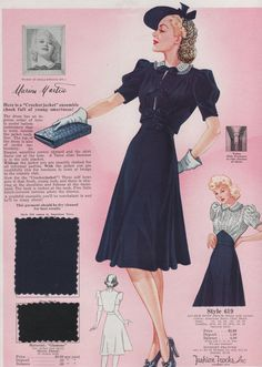 Fashion Frocks 1940 looks like a Kitty Foyle dress Collar and full skirt Vintage Outfits, 1940s Outfits, 1940s Dresses, Vintage Dresses, Vintage Clothing, 40s Mode, Retro Mode, Vintage Mode, Vintage Style