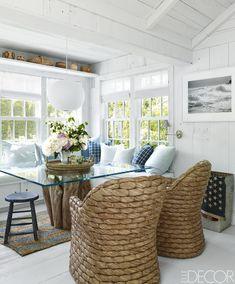 The cozy dining nook of fashion executive Buffy Birrittella's Hamptons escape elegantly captures the essence of summer.   - ELLEDecor.com