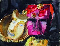 Emil Nolde (1867 - 1956 ) - Strange Masks, N/D watercolour on paper