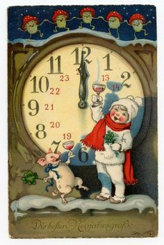 Clock Pigs Mushrooms German xmas new year card Vintage Christmas Images, Victorian Christmas, Retro Christmas, Vintage Holiday, Christmas Pictures, Christmas Art, Christmas Postcards, German Christmas, Vintage Happy New Year