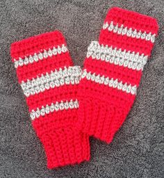 Hand Crocheted Fingerless Texting Gloves, Arthritis Hand Warmers, red and gray (Ohio State, Tampa Bay, Colorado, Washington, Northeastern, Worcester, Montana). Perfect for game day! These fingerless gloves are silky soft, not too bulky, and nicely close-fitting. Whether you're in the stadium, headed out for some tailgating, hanging out at a gameday party, or just showing off your colors every day, these fingerless gloves will be amongst your favorites. Expertly hand crafted from premium...