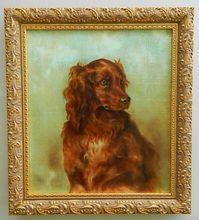 Antique Irish Setter Dog Oil Painting