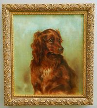 Antique Irish Setter Dog Oil Painting