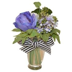 """Check out this item at One Kings Lane! 7"""" Anemone Mix w/ Bow, Faux"""