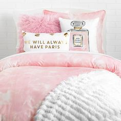 Something sweet. Romance your space with this metallic macaron pillow. Featuring an infamous saying and stylish sweets sprinkled across the front of this white pillow, your room will feel French in no time. Pink Bedroom For Girls, Pink Bedrooms, Teen Girl Bedrooms, Pink Room, Teen Bedroom, Blush Bedroom, Pink Bedroom Decor, Bedroom Ideas, Pink Paris Bedroom