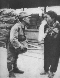 A Japanese soldier comes back from the war. October 1945