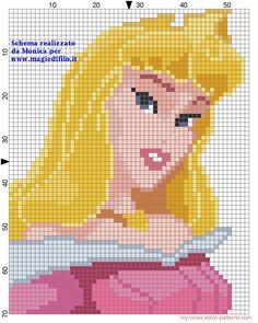 Sleeping Beauty Princess Aurora cross stitch pattern designed by Monica