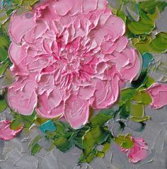 Original Oil Painting on Canvas Pink Peony