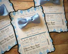 Boy baby shower invites bowtie invitations blue suspenders little man mustache bow tie set of 10 custom handmade invitation baby shower first 1st birthday filmwisefo