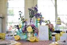Periwinkle and Lemon Wedding inspiration- Paper Goods by Pretty Peacock Paperie- Washington, D.C Wedding Invitations Lemon Centerpieces, Reception Decorations, Table Decorations, Funny Greeting Cards, Bright Flowers, Dc Weddings, Wedding Themes, Summer Wedding, Floral Arrangements