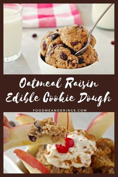 This Oatmeal Raisin Edible Cookie Dough is an easy and fun snack or dessert that's quick to make and can be used as a topping on ice cream or yogurt, a dip for fruit or eaten on its own. Little kids can make it into fun shapes, while bigger kids can make it themselves because there's no oven required! #cookiedough #sponsored #ad #oatmealraisin #snack #dessert