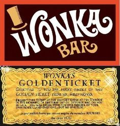 the golden ticket printed | Custom Willy Wonka Bar Golden Ticket Party Invitations Chocolate Candy ...