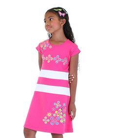 Another great find on #zulily! Pink & White Flower A-Line Dress - Toddler & Girls #zulilyfinds