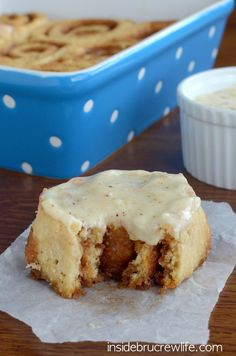 These easy NO YEAST eggnog cinnamon rolls can be made and eaten in less than an hour.  Perfect holiday breakfast!
