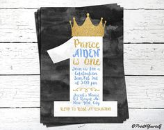 1st Birthday Prince Invitation // Personalized Printable First