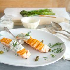 Grilled salmon with dill caper cream