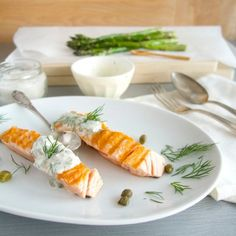 Grilled salmon with dill caper cream