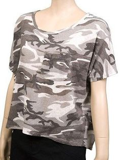 Audrey 3+1 Army Print S/S Womens T Shirts Gray Size L ~