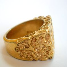 1980s gold nugget ring