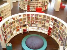 Fabulous curved shelving at a library in Delft, Holland! #shelf #shelving #bookshelves #bookscase #library #storage
