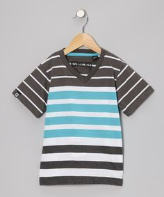 Take a look at the Micros Turquoise Stripe V-Neck Tee - Boys on #zulily today!