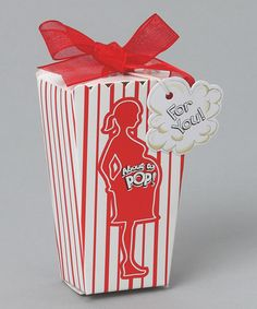 A little humor goes a long way. These adorable favor boxes won't only elicit a giggle, they're perfect for holding candies that guests will enjoy long after the shower is over. We're thinking popcorn-flavored jellybeans. Yum!Includes 24 favor boxes2'' W x 4.5'' H x 1.5'' DHeavyweight paper and organzaImported